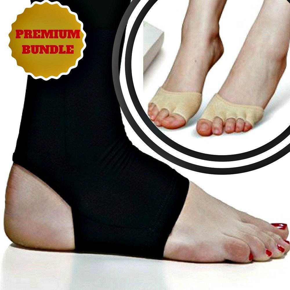 Copper Compression Recovery Ankle Sleeve + Half Toe Socks - For Men & Women. Recovery & Relief from Plantar Fasciitis, Heel Spur, Ankle Sprain and Tendonitis, Stiff and Sore Muscles & Joints Get7Solutions H&PC-05451