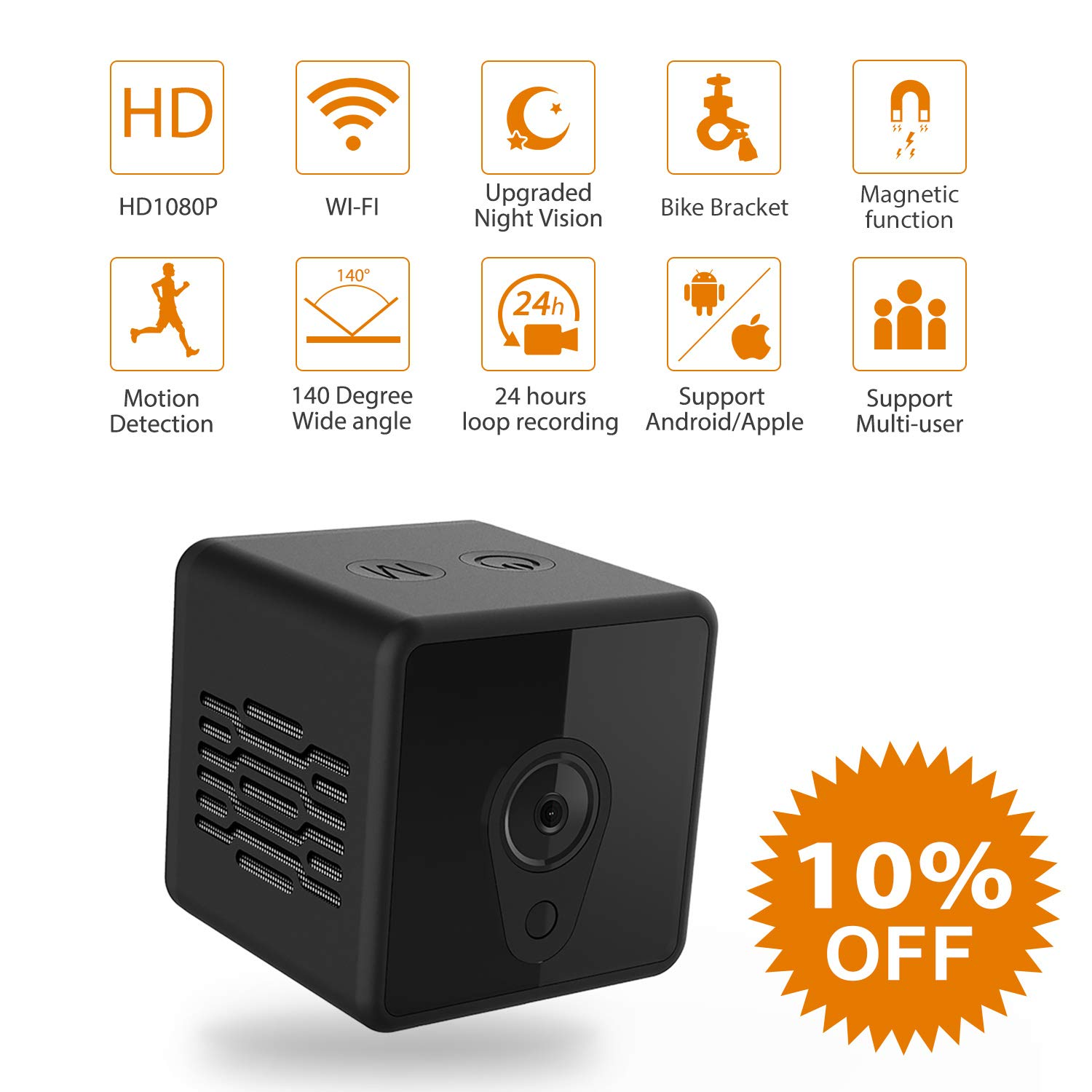 Mini Spy Camera WiFi, Jayol 1080P Spy Hidden Camera Upgraded Night Vision and Motion Detection Spy Cam, Portable Nanny Camera for Home/Office Security and Outdoor (with Cell Phone App) by Jayol