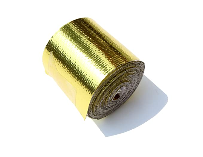 SUNDELY Reflective Golden Exhaust Manifold Pipe Heat Protection Wrap Tape 2 X 15ft 5cm x 450cm with Self Adhesive Backing