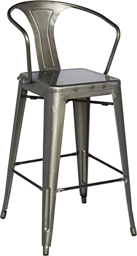 Chintaly Imports 8020 Galvanized Steel Bar Stool with 4 Stylish Colors, Gun Metal