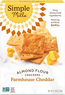 product image for Simple Mills Almond Flour Crackers, Farmhouse Cheddar, Gluten Free, Flax Seed, Sunflower Seeds, Corn Free, Good for Snacks, Made with whole foods, (Packaging May Vary)