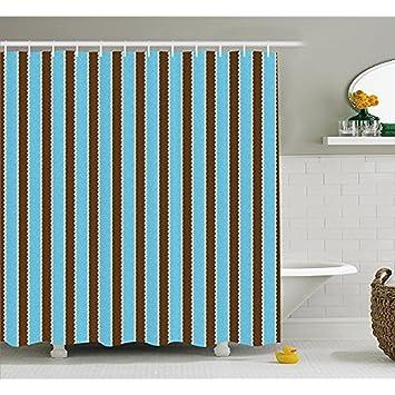 H&S Aqua Duschvorhang durch, Weiß blauen Streifen fett gedruckten ...