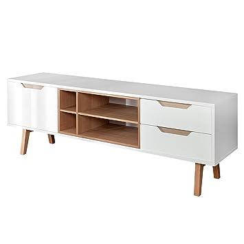 Design Retro Lowboard NORDIC 150cm edelmatt weiß Echt Eiche TV-Board ...