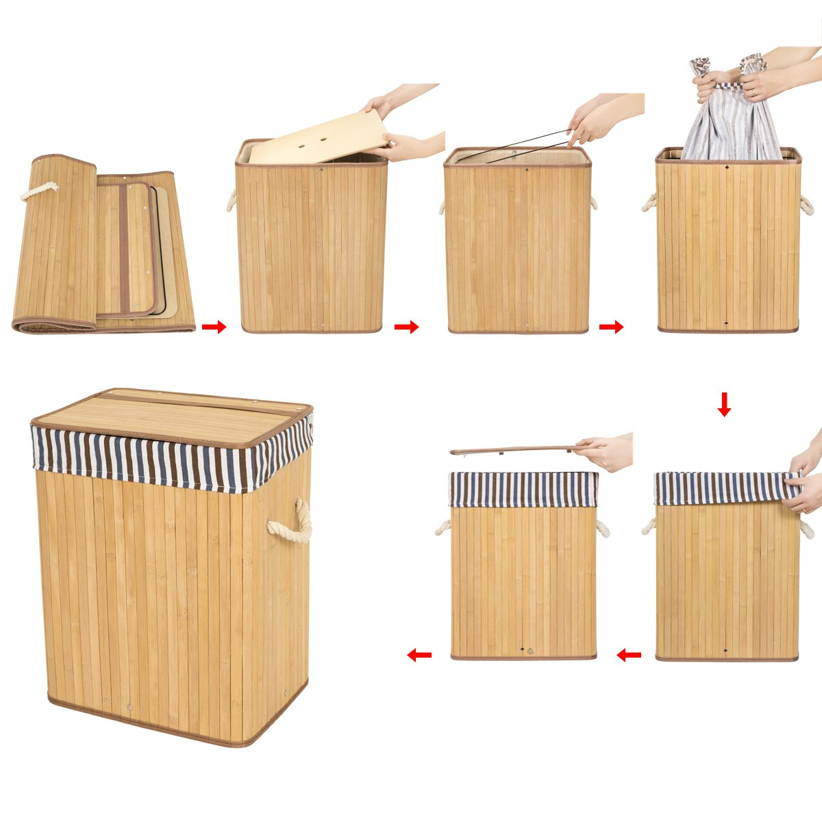 ZERO JET LAG 40L Bamboo Laundry Hamper Laundry Basket Dirty Clothes Box Natural Laundry Bin Lid Handles Removable Liner Collapsible Dirty Clothes Organizer(Brown)