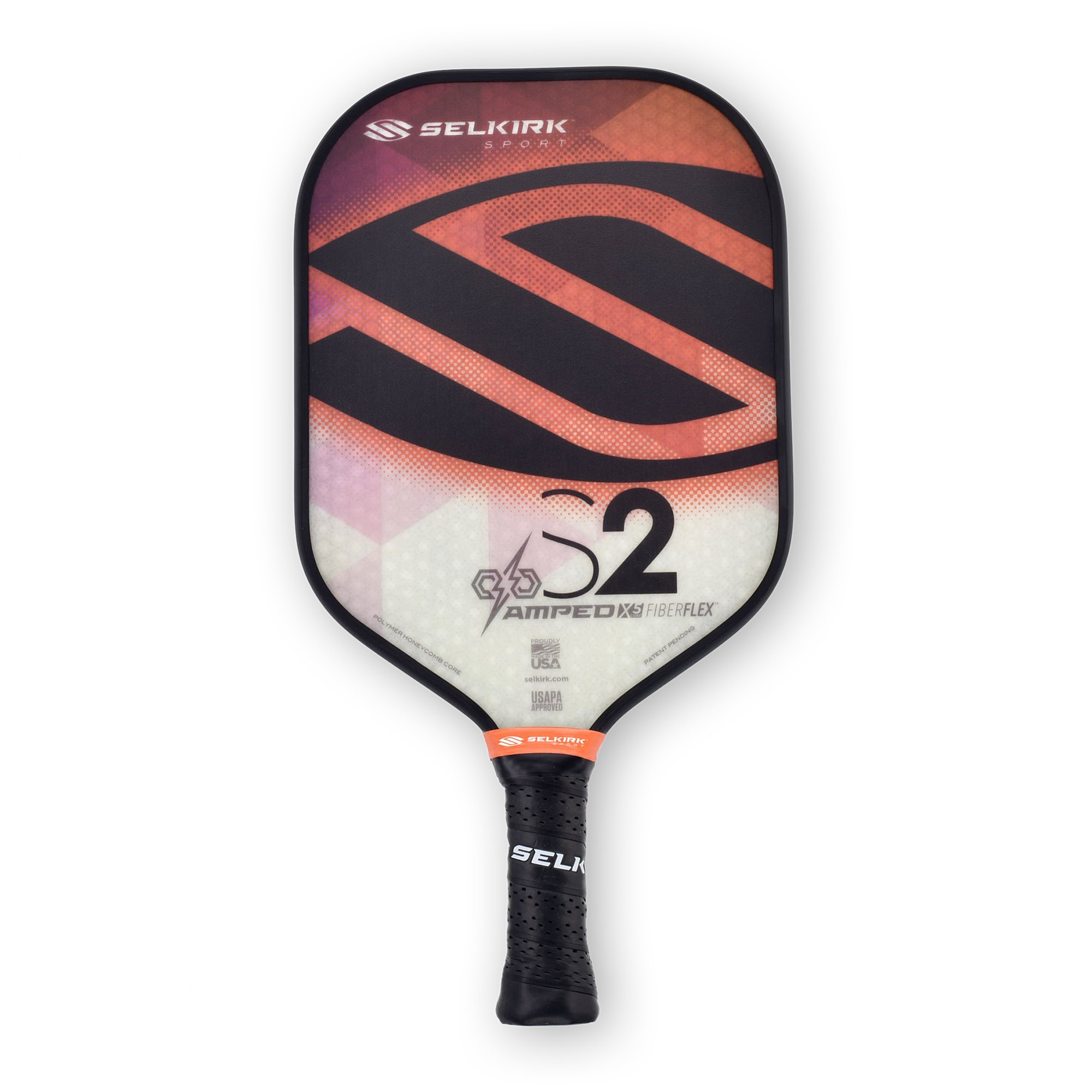 Selkirk Amped Pickleball Paddle - USAPA Approved - X5 Polypropylene Core - FiberFlex Fiberglass Face - 5 Sizes: Epic, S2, Omni, Maxima, and INVIKTA (S2 Midweight - Fire Opal) by Selkirk Sport