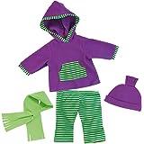 Bayer Design - Conjunto con camiseta, pantalón, gorra y bufanda para muñecas, color lila y verde (84644)