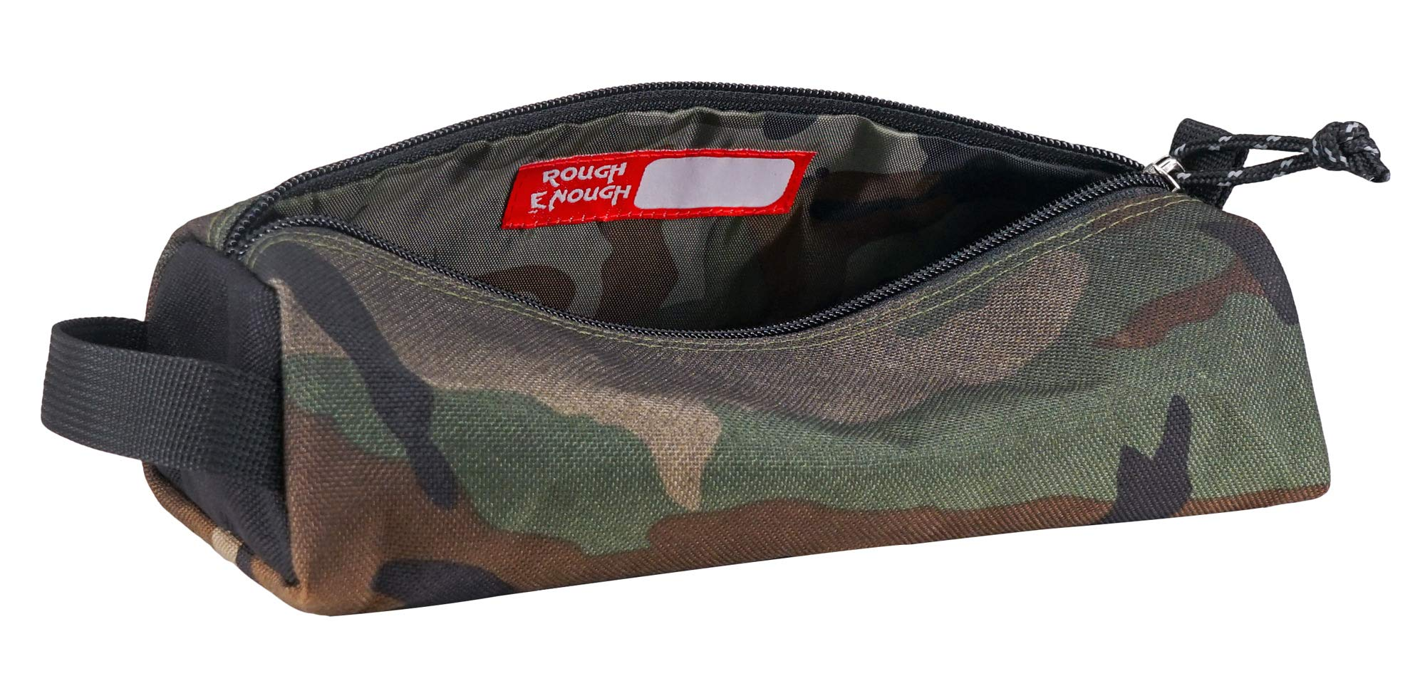 Rough Enough Camo Large Big Zipper Pencil Case Pouch Holder Bag Box for Boys Girls Kids Teen Women Men Art Supplies Case in Outdoor Fabric with Special Screen print for Travel School Stationery Car by RE ROUGH ENOUGH