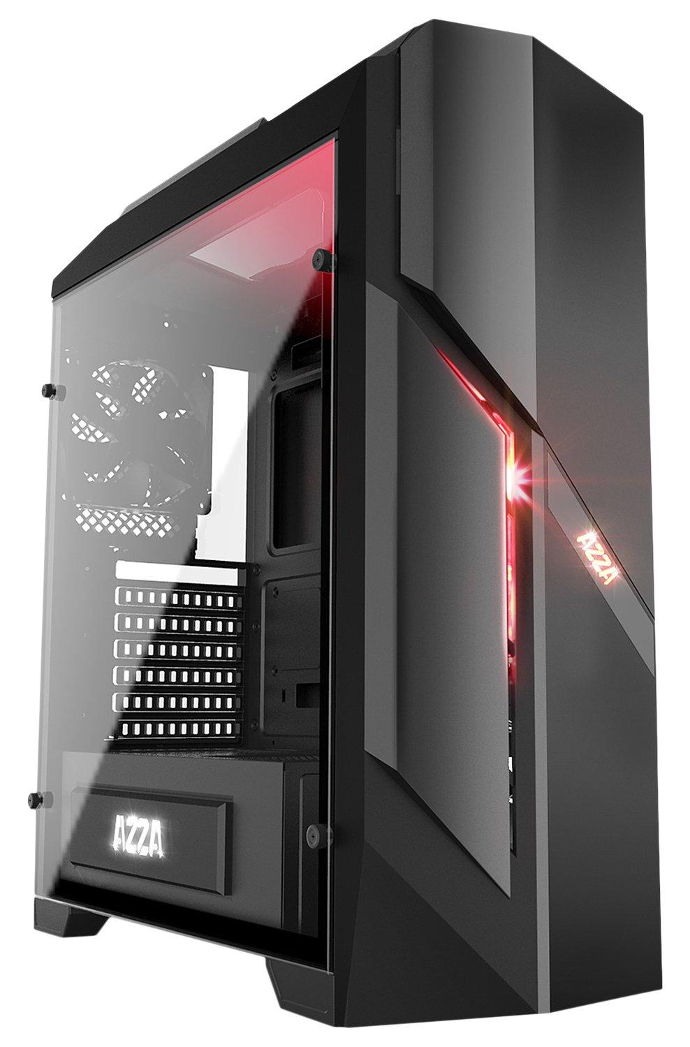 Azza Photios250X Midi-Tower Negro Carcasa de Ordenador - Caja de Ordenador (Midi-Tower, PC, EVA (Etileno Acetato de Vinilo), Vidrio Templado, ATX,Micro-ATX, ...