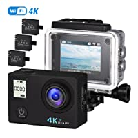 OMorc Action Camera 4K Ultra HD16MP WiFi Waterproof Sports Camera 170° Super Wide Angle Lens 2 inch LCD Screen with 3 Rechargeable Batteries, 14 Accessories Kits, A Selfie Stick Included
