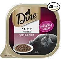 DINE Saucy Morsels with Salmon Wet Cat Food 85g Tray, 28 Pack