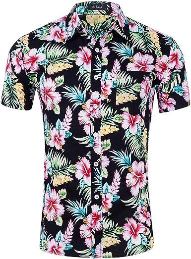 Hawaiian Beach Camiseta de Manga Corta para Hombre Flores Camisa Clásica Imprimir Casual Ajuste Regular: Amazon.es: Ropa y accesorios