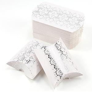 CLE DE TOUS - 50pcs Cajitas de boda dulces Pequeños regalos Detalles para bodas Cajas petaca