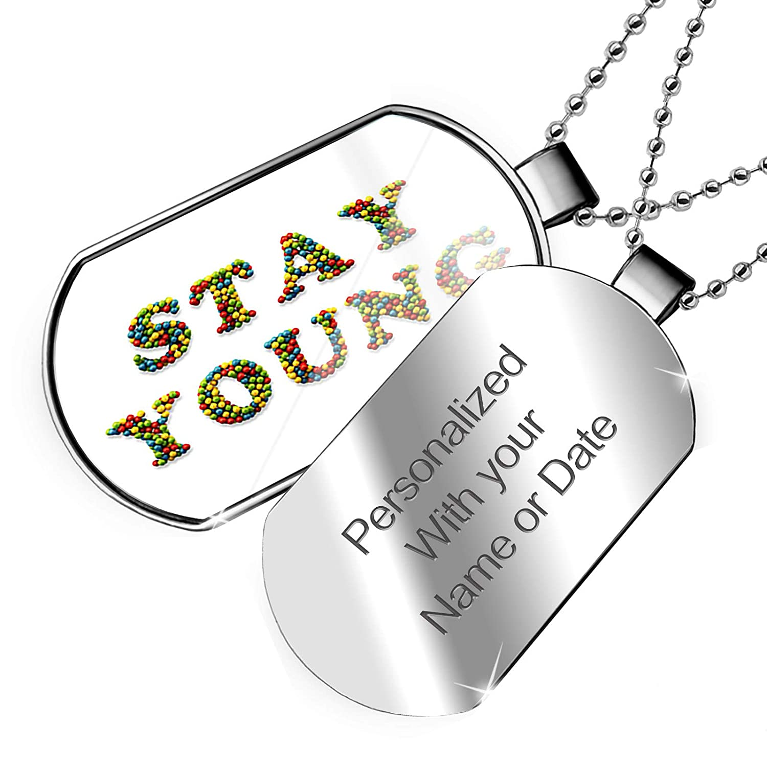 NEONBLOND Personalized Name Engraved Stay Young Playroom Toys Balls Dogtag Necklace