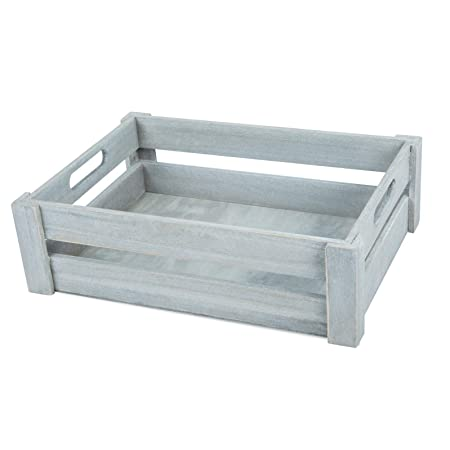 Basic House Ltd Whitebrown Wooden Apple Crates Storage Collection Box Display Tray Extra Large White
