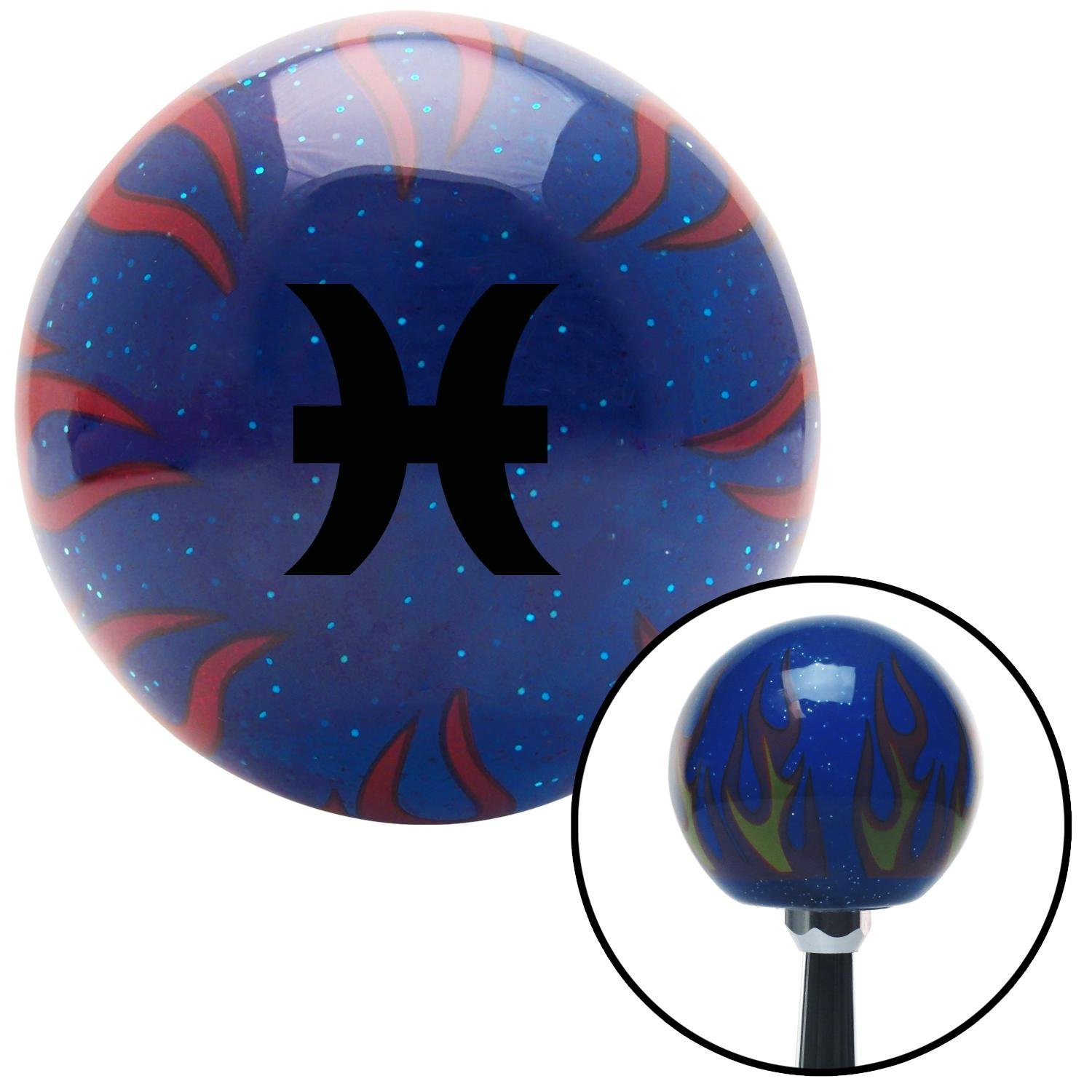 American Shifter 298013 Shift Knob Black Pisces Blue Flame Metal Flake with M16 x 1.5 Insert