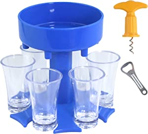 6 Shot Glass Dispenser and Holder with Glasses, Liquor Dispenser, Drink Dispenser, Beverage Dispenser, Bar Shot Dispenser, Alcohol Dispenser for Bar Party (Blue with 6 White Glasses)