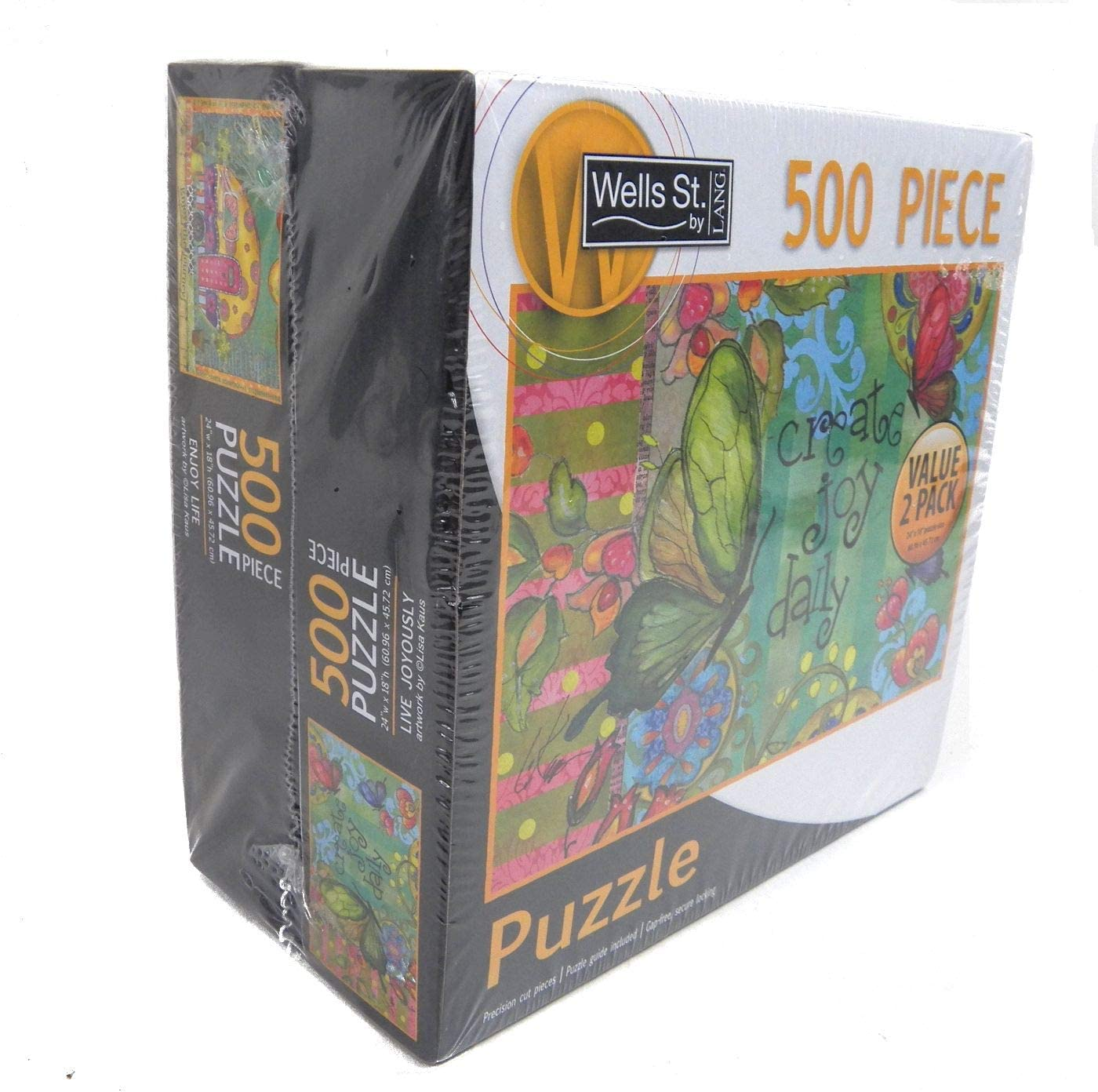 Lang Wells Street 500 Piece Puzzle Live Joyously /& Enjoy Life Value 2 Pack