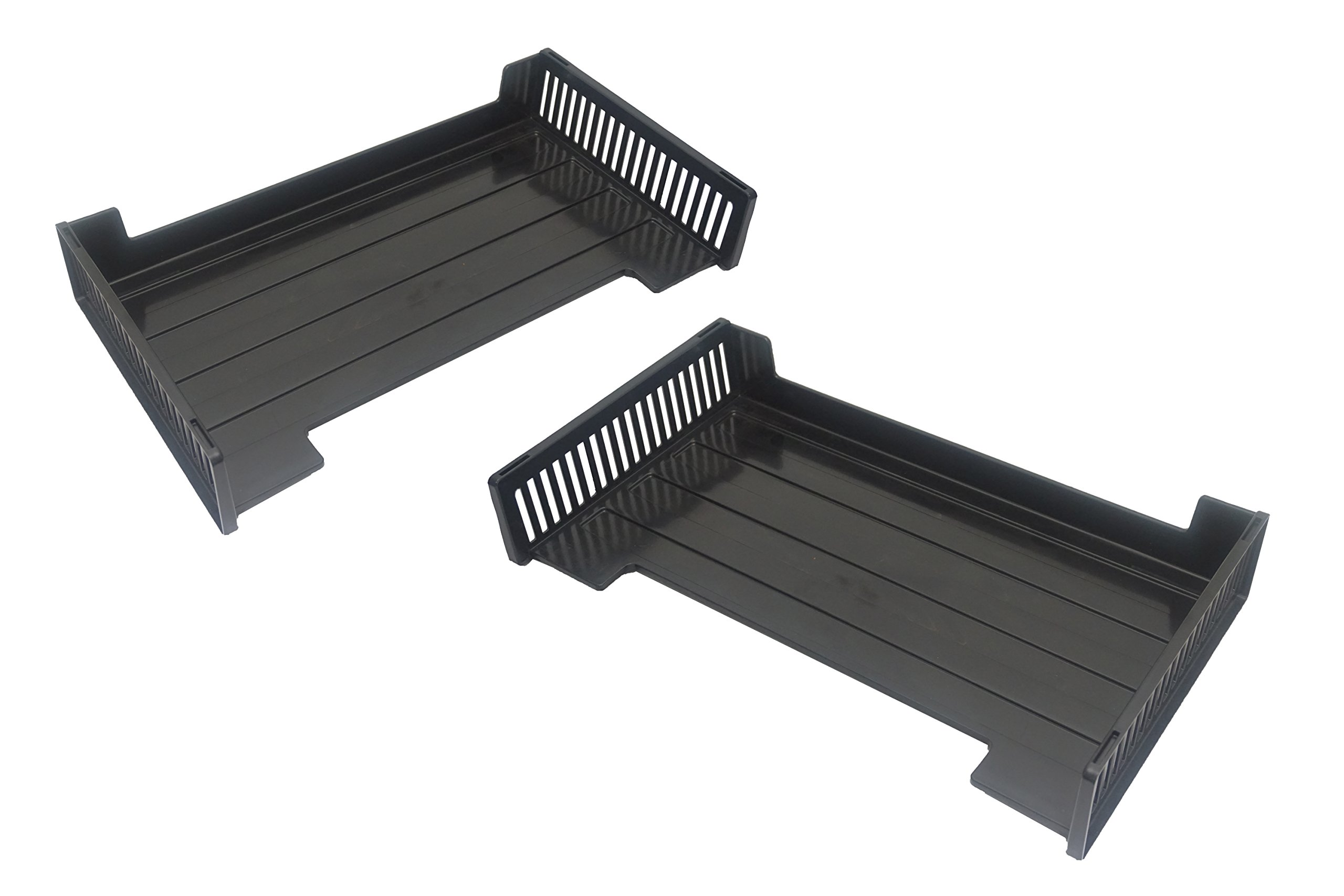 Victor Stacking Legal Size Office Desk Letter Trays, Set of 2, Black, Recycled Plastic