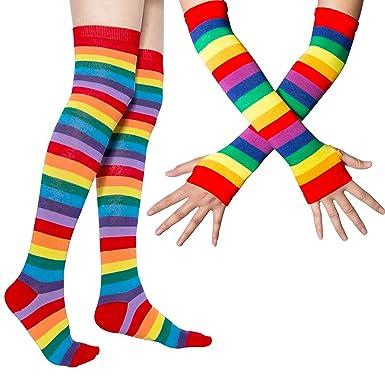 987818a58d4 Chalier Womens Rainbow Stripe Knee Thigh High Socks Arm Warmer Fingerless  Gloves  Amazon.co.uk  Clothing