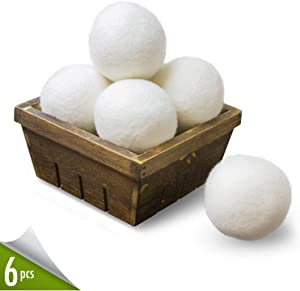 Organic Wool Dryer Balls 6-pack XL, 100% Premium Reusable Natural Fabric Softener, Chemicalfree and Reduces Wrinkles Drying Balls, Hypoallergenic Baby Safe and Unscented