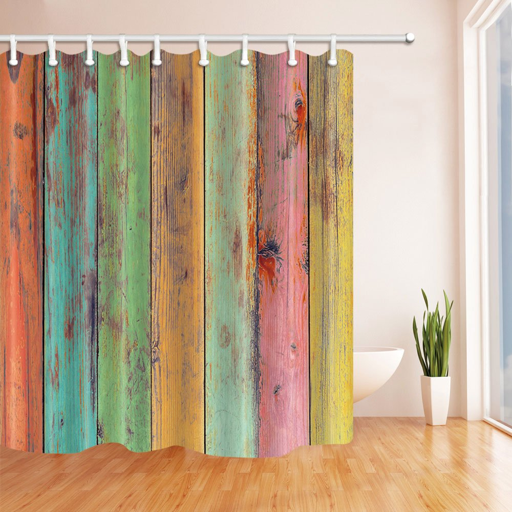 NYMB Vintage Colorful Wallpaper Artwork Painted on Wood Shower Curtain 69X70 inches Mildew Resistant Polyester Fabric Bathroom Fantastic Decorations Bath.