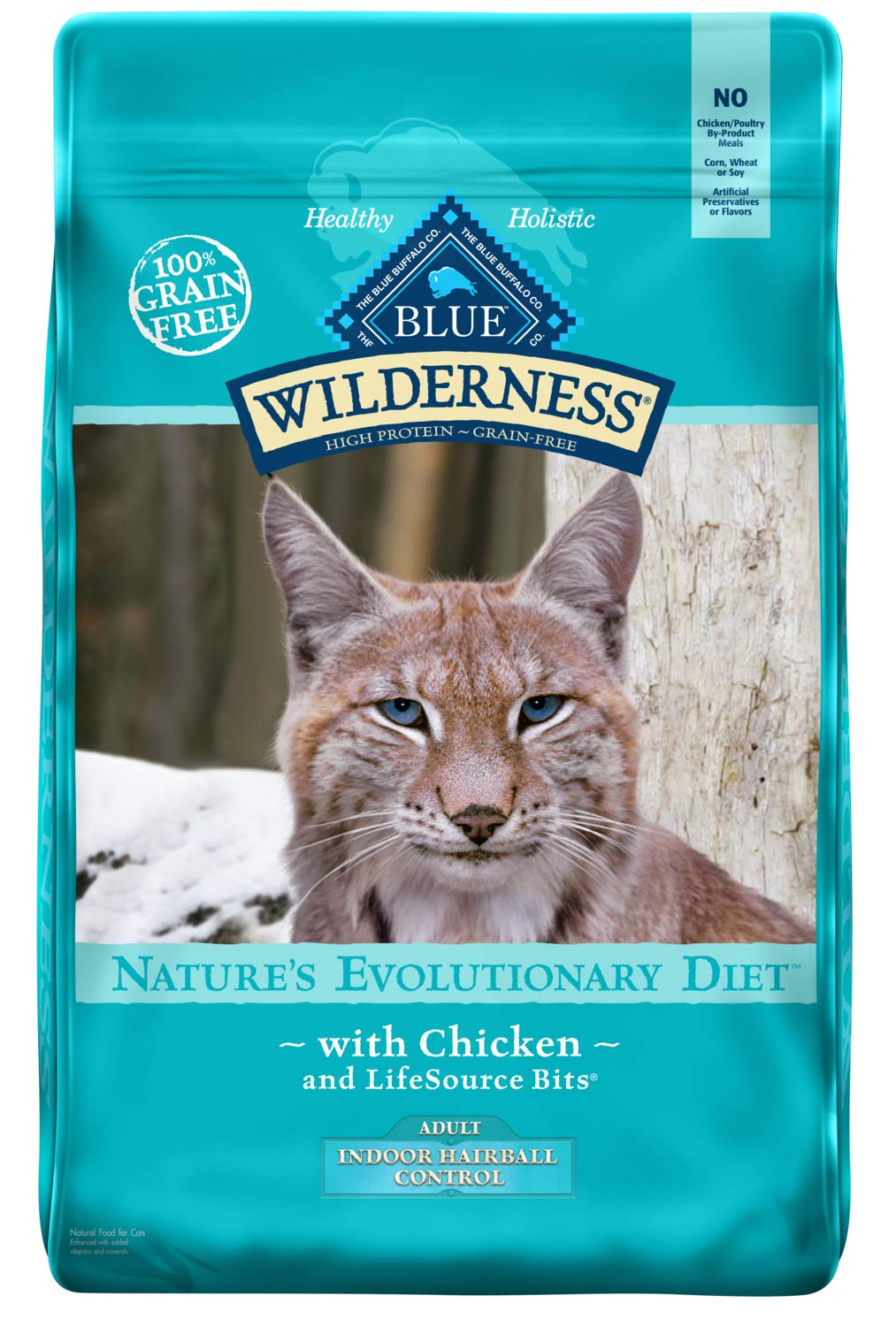 Blue Buffalo Wilderness High Protein Grain Free, Natural Adult Indoor Hairball Control Dry Cat Food, Chicken 11-lb by BLUE BUFFALO