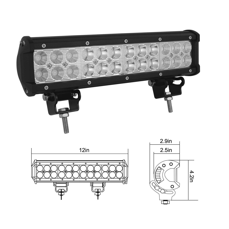 AUXTINGS 15inch 90W LED Light Bar Spot Flood Combo Beam for Heavy Duty Car Pickup Vehicles SUV UTV Jeep Truck Off-Road 4WD Boat Light Off Road DC10-30V 6000K Waterproof Led Work Light Bar