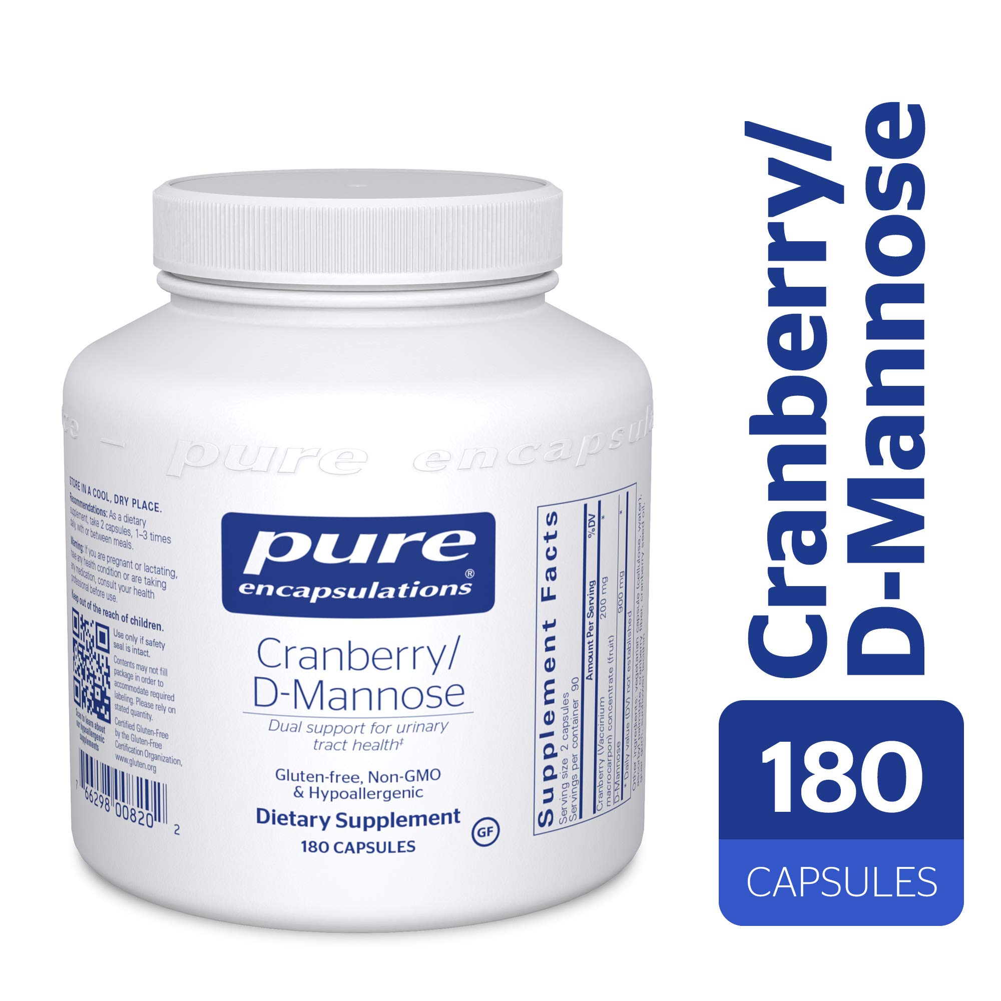 Pure Encapsulations - Cranberry/d-Mannose - Hypoallergenic Supplement to Support Urinary Tract Health* - 180 Capsules