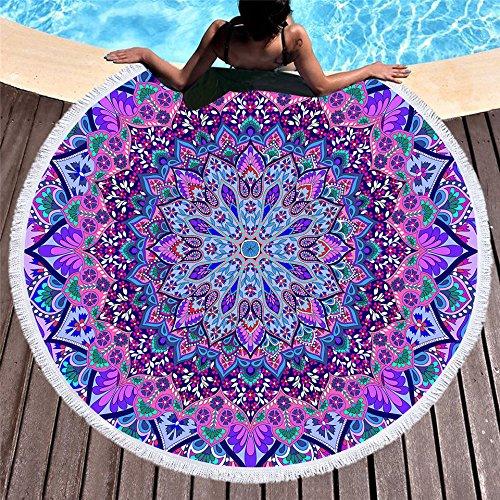 Jiahongsheng Bohemian Round Beach Towel Indian Mandala Yoga Mat Thick Tapestry Purple Beach Towels 60 inch Diameter (Purple-Coloured Glaze)
