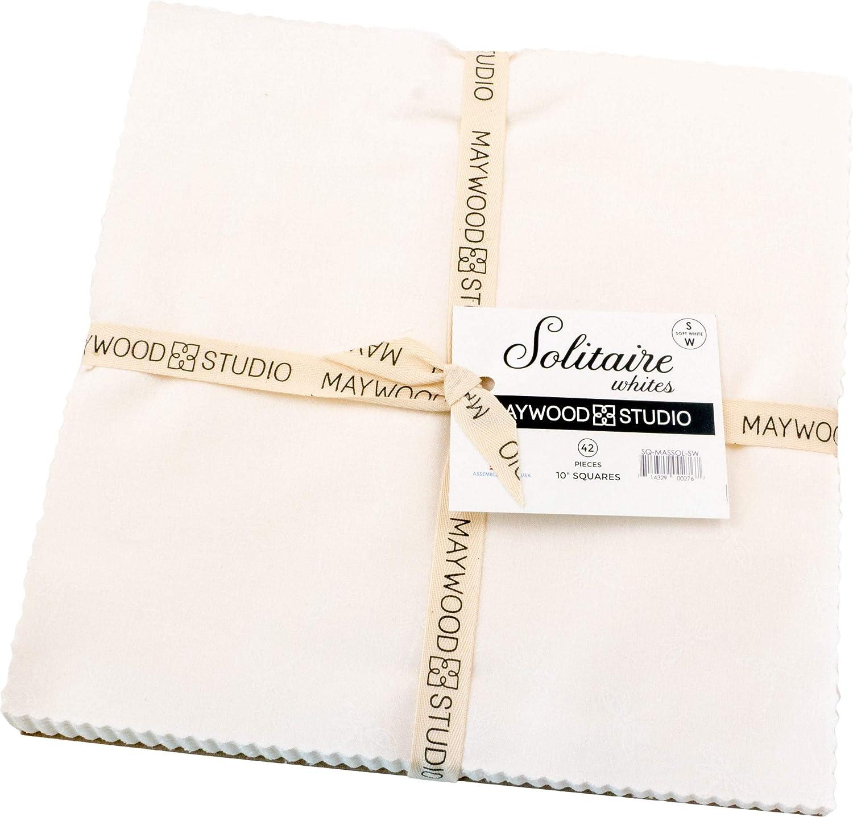 Solitaire Whites Soft White 10 Squares 42 Pieces Layer Cake Maywood Studio