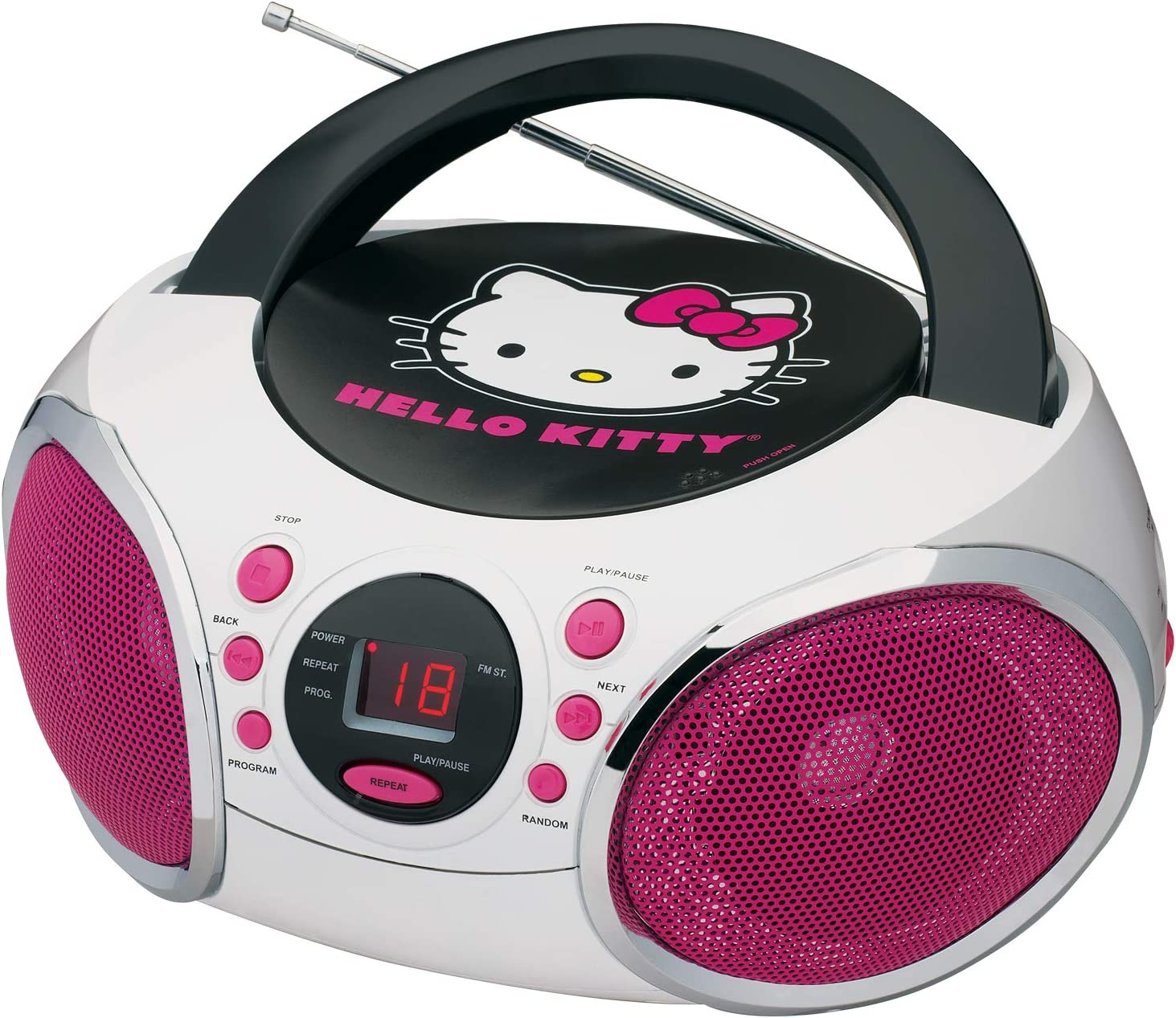 Hello Kitty KT2026-MBY Portable Stereo CD Boombox with AM/FM Radio Speaker