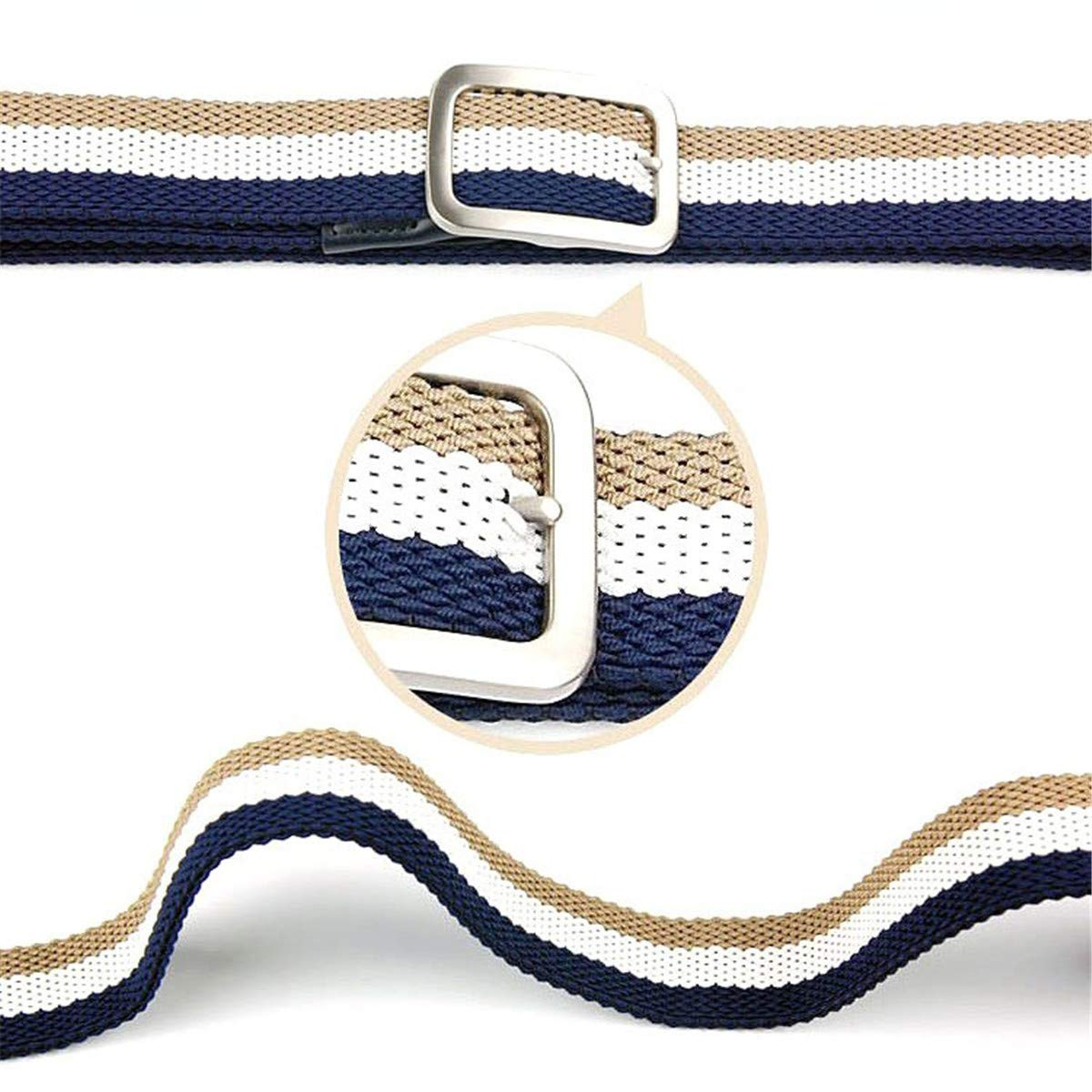 ECYC Knitted Pin Buckle Belt Woven Canvas Elastic Stretch Belt without Holes
