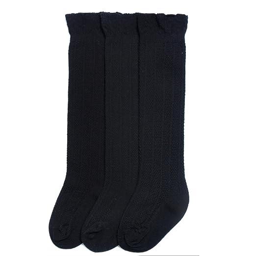 b009af78999 Epeius 3 Pair Pack Little Girls Boys Seamless Black Uniform Knee High Socks  Kids Girls Tube