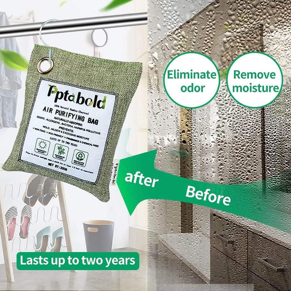ecologico per la casa Sacchetti per purificazione dellaria al carbone 2 pezzi purificatore daria al carbone attivo al 100/% e deodorante per ambienti beige 2 x 500 g