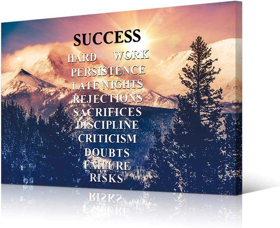VVOVV Wall Decor Success Quotes Inspirational Wall Art Motivational Motto Poster Colorado Mountains Pictures for Office Home Wall Decoration Framed 24