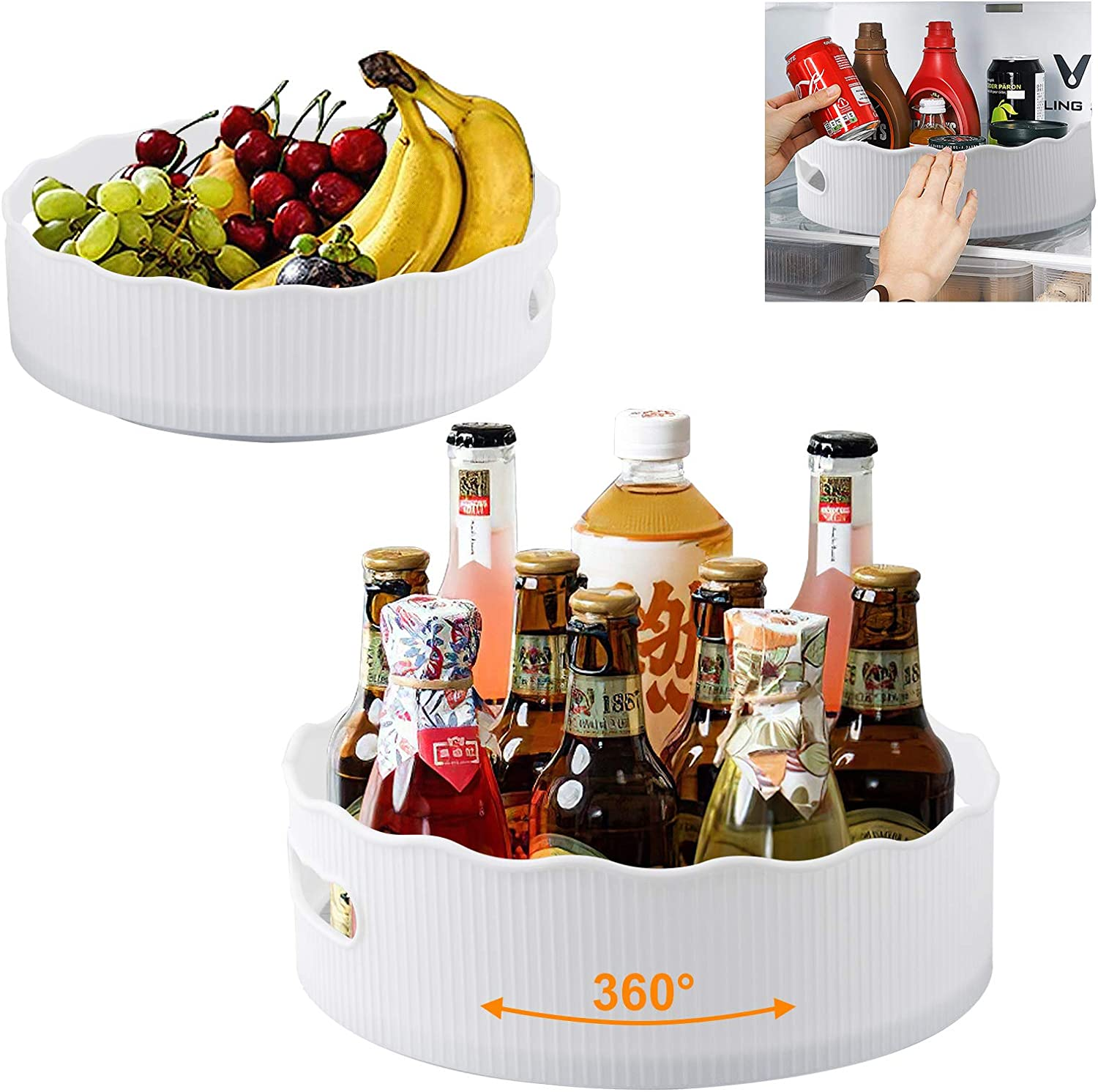 Domccy 2 Pack Pantry Cabinet Lazy Susan Turntable with Handles, 11.5&9.52 Inch, Non-skid Plastic Turntable for Spice Holder Food Condiment Storage, fit Kitchen, Bathroom, Cabinets, Fridge, Countertop
