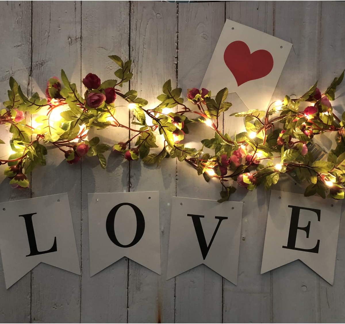 Fielegen 20LED Artificial Rose Flower Garland with Lights, Battery Operated 7.2ft Rose Vine Fairy String Lights with 42pcs Flowers for Valentine's Day, Wedding Bedroom Party Wreath Decor Floral Design