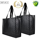 Reusable Tote Grocery Bags - Supermarket Shopping Bags Medium Storage Tote Bags with Handle Non-Woven Fold Flat Waterproof Wipe Clean (2, Diamond Pattern Double-Black)