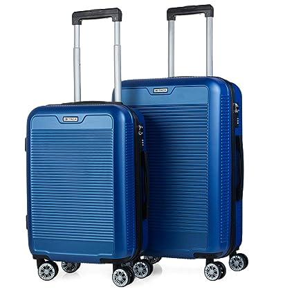 ITACA - Juego Maletas de Viaje Rígidas 4 Ruedas Trolley ABS Lisas. Duras Resistentes y Ligeras. Candado. Pequeña Cabina Ryanair y Mediana Diseño. ...