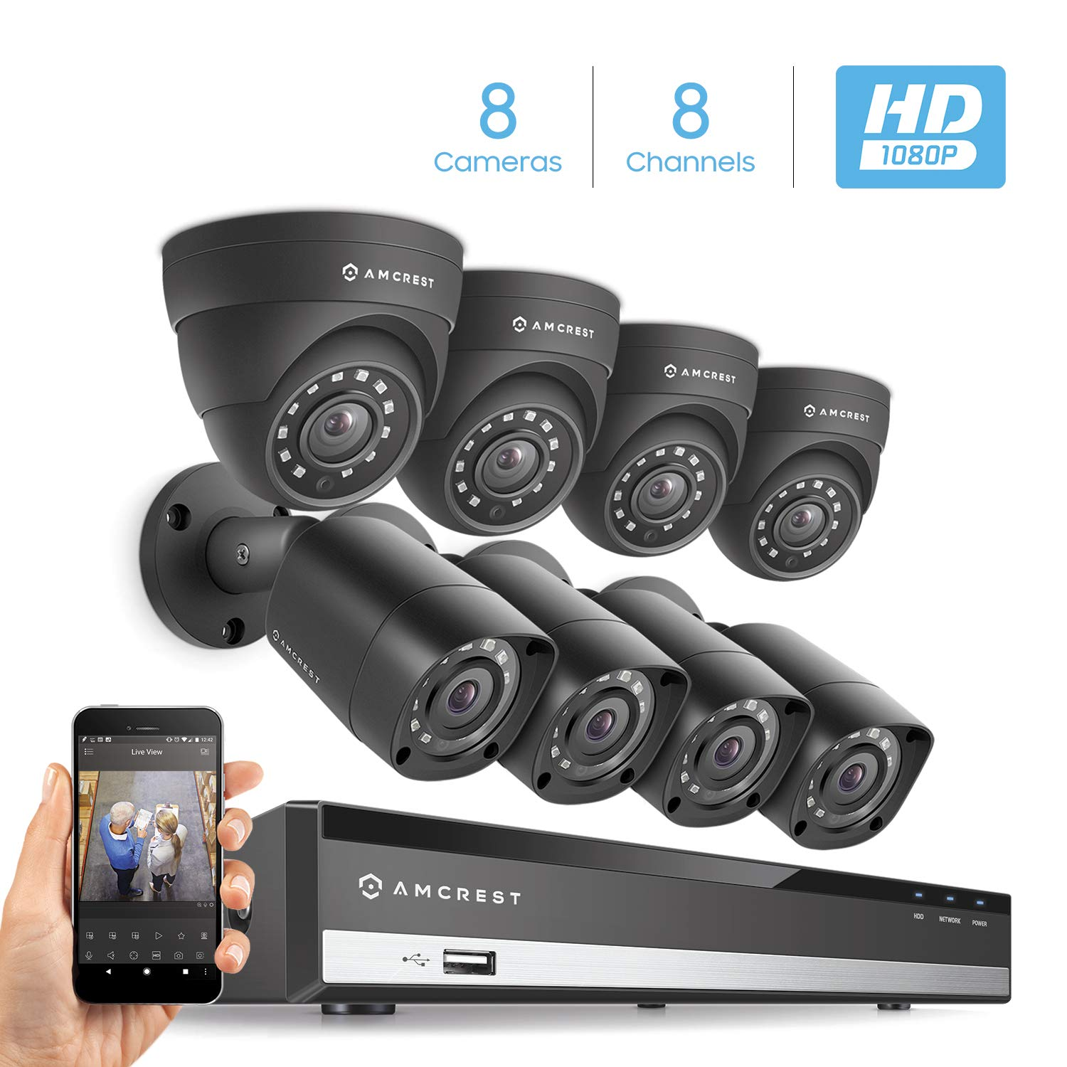 Amcrest Full-HD 1080P 8CH Video Security System w Eight 2.0MP 1920TVL Outdoor IP67 Bullet Dome Cameras, 98ft Night Vision, Hard Drive Not Included AMDV10818-4B4D-B