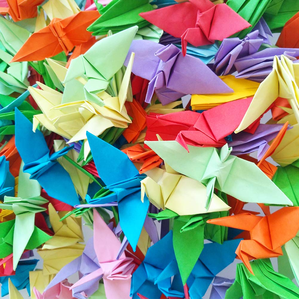 Hangnuo 100 PCS Origami Paper Cranes Mixed Colors, Folded DIY Japanese Crane Mobile String Garland for Wedding Party Backdrop Home Decoration by Hangnuo