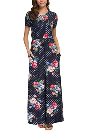 24a3c96b6f339 Zattcas Womens Floral Printed Maxi Dress Pockets Short Sleeve Long Summer  Dress (Small,Dark