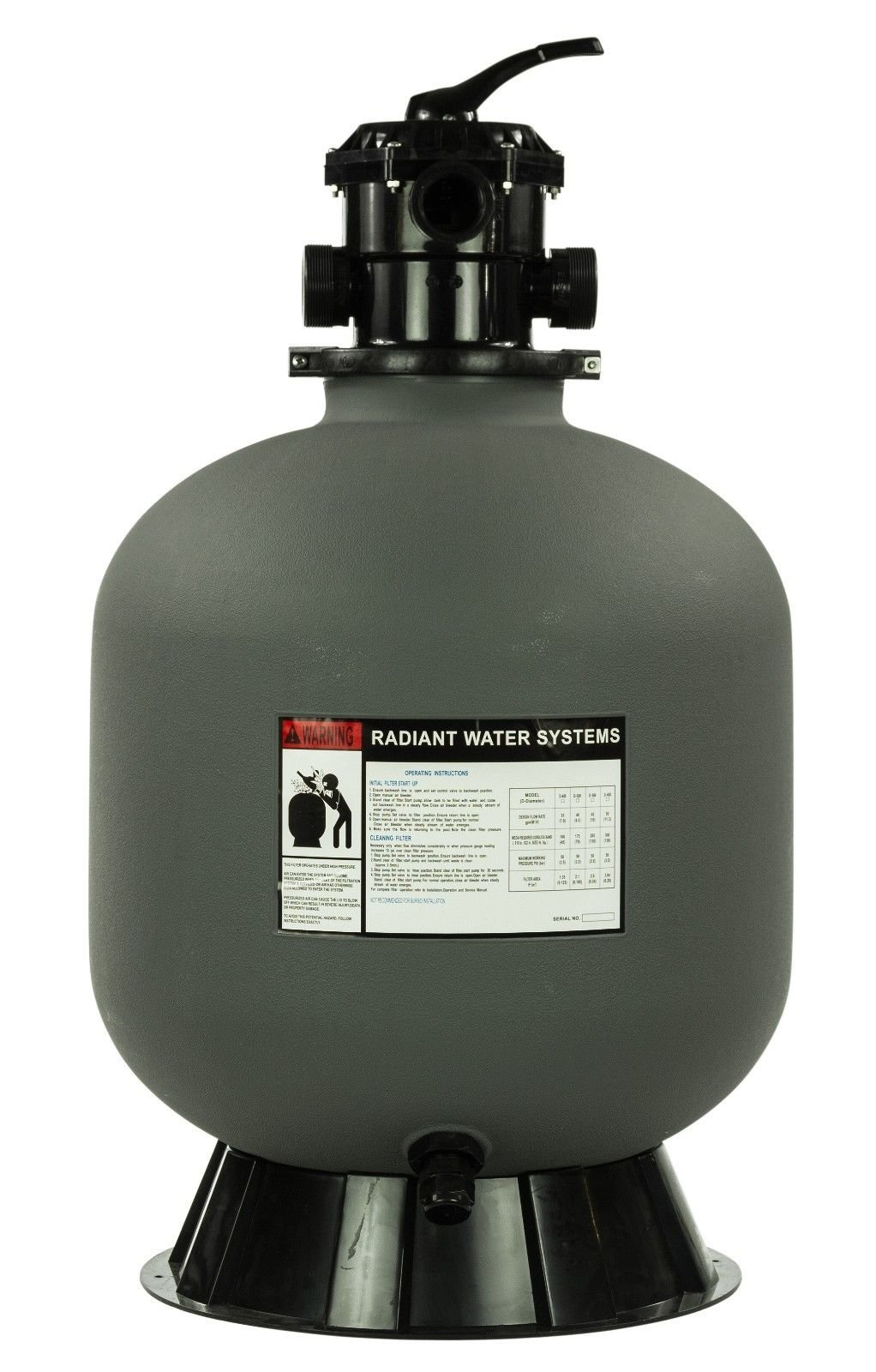 Rx Clear Radiant Sand Filter System | Inground Swimming Pool | 24 Inch | 6-Way Valve Pump by Rx Clear