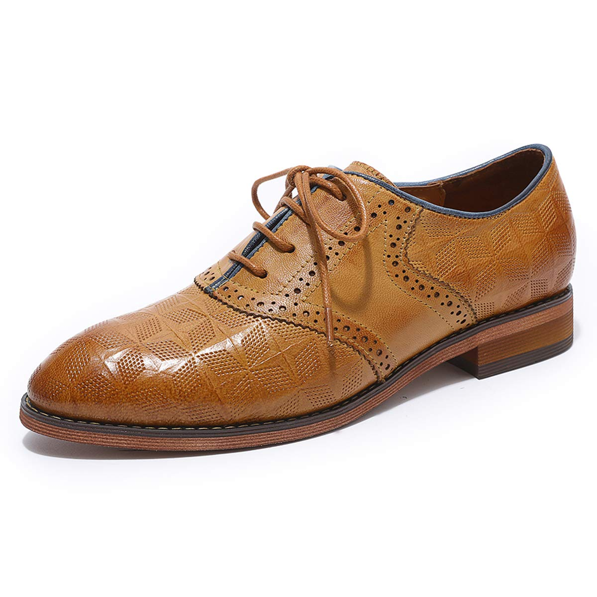 855bd21516 MIKCON Womens Oxfords Shoes Leather Perforated Wingtip Lace up Flats Saddle  Brogue Shoes for Womens Girls Brown