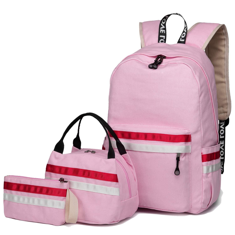 School Backpack for Girls, BLUBOON Teens Bookbag College Laptop Rucksack Women Travel Daypack Lunch Box Bag Pencil Case (9193-Pink)