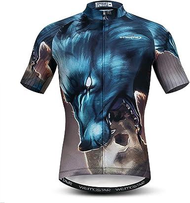 Hombres Ciclismo Jerseys Tops impresión 3D Ciclismo Camisas manga corta cremallera completa Bicicletas chaqueta bolsillos