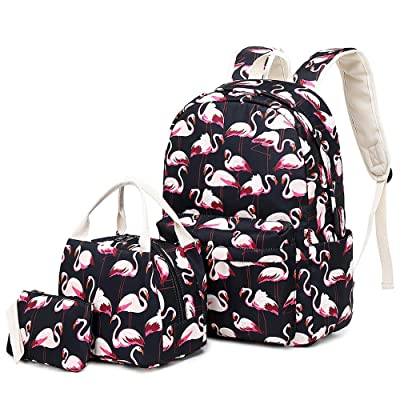 Lmeison Flamingo Backpack Waterproof, College Bookbag with Lunch Bag and Pencil Case for Women Girls, Lightweight Travel Daypack 14inch Laptop Bag for School: Clothing