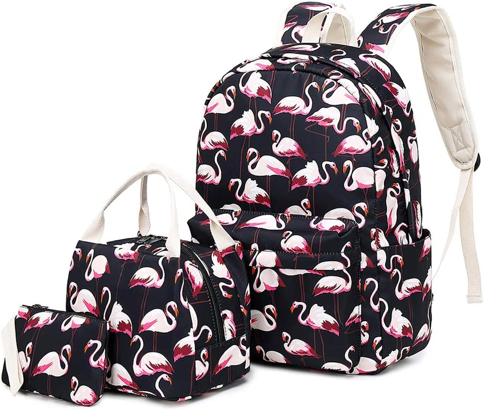 Lmeison Flamingo Backpack Waterproof, College Bookbag with Lunch Bag and Pencil Case for Women Teen Girls, Lightweight Travel Daypack 14inch Laptop Bag for School