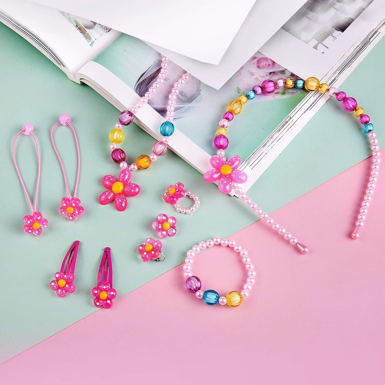 Pink Filles Princesse Sacs /à Main,Comius Sharp Enfants Floral Sac /à Main,Belle /à la Mode Amusant,en Parure de Bijoux Set de Fantaisie Cadeaux de f/ête pour Jeu dhabillage,pour Petite Fille Motif