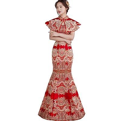 3c29a84fba39e GZHOUSE ウェディングドレス中国結婚式衣装パーティードレス 赤いワンピース レースアップ ベアトップ 二次会 花嫁ロング トレーン スカート二次会  披露宴